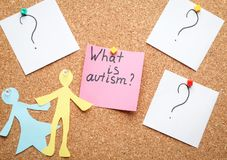 Sticky note with phrase. `What is autism?` on cork background Royalty Free Stock Photography
