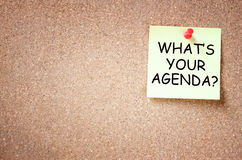 Sticky note with the phrase whats your agenda. room for text. Sticky note with the phrase whats your agenda. room for text royalty free stock photo
