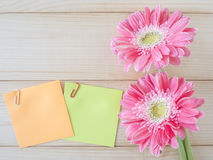 Sticky note and pink flower 11 Royalty Free Stock Image