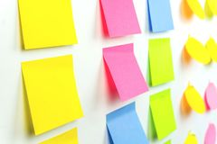 Sticky Note Post It notes Board Office side view. Sticky Note Post It notes Board Office royalty free stock photos