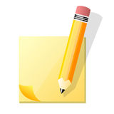 Sticky note post it with pencil. Illustration of yellow post it sheet on blank background with pencil Stock Photo
