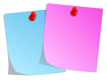 Sticky note and red push pin. Pink and blue sticky note and red push pin Royalty Free Stock Photography