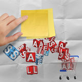 Sticky note with sale word and 3d shopping cart sale Stock Image