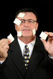 Sticky Note Salesman 1. Busy salesman confused with his sticky notes stock photography