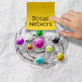 Sticky note social network on crumpled paper background Royalty Free Stock Image