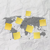 Sticky note social network icon on crumpled paper background as Stock Photos
