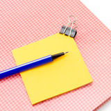 Sticky note with supplies Stock Image