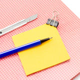 Sticky note with supplies Stock Photo