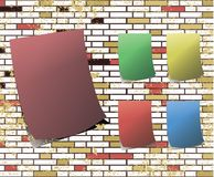 Sticky note on t dirty brick wall raster Royalty Free Stock Photo