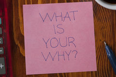 Sticky note with tex what is your why Stock Photo
