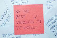 Sticky note with text be the best version of yourself Royalty Free Stock Photography