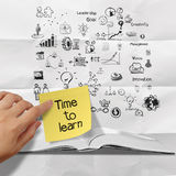 Sticky note time to learn on blank book and splash colors choice Stock Image