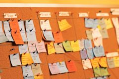 sticky note to scrum board. Tasks board use in agile methodology, project management during their software development