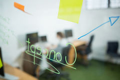 Sticky note and written text on glass wall Royalty Free Stock Image