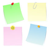 Sticky notes. Four colour sticky notes for the message on a paper clip, a pin and a magnet. Vector Stock Photos