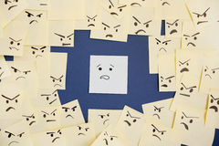 Sticky notes with anthropomorphic face blaming colleague Royalty Free Stock Photography