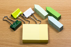 Sticky Notes and Binder Clips Stock Photos