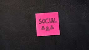 Sticky notes on the blackboard. Sticky note with Social word on the blackboard royalty free stock photography