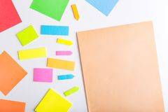 Sticky notes. Blank sticky notes with different colors and shapes royalty free stock photos