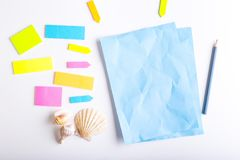 Sticky notes. Blank sticky notes with different colors and shapes stock photo