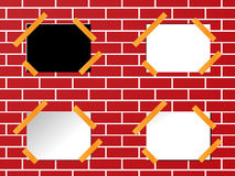 Sticky notes on brick wall. Four sticky notes on brick wall, can be used in a lot of ways Stock Photo