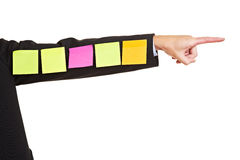 Sticky notes on business arm Stock Photo