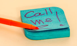 Sticky notes call to action. Call me! , Txt me!, Missing you Royalty Free Stock Images