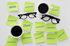 Sticky notes with concepts related to teamwork Stock Images