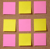 Sticky notes on cork board Stock Photography