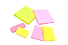Sticky notes and erasers closeup Stock Photography