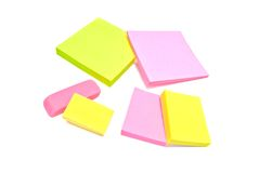 Sticky notes and erasers closeup on white Stock Photo