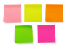 Sticky notes. Five color blank sticky notes isolated on white Royalty Free Stock Photography