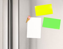 Sticky notes on the fridge Stock Image