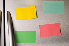 Sticky notes on fridge door Stock Image