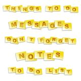 Sticky notes headers. Set of five message headers (Things to do, Messages, Don't forget, Notes and To Do List) written in letters on yellow post-it like sticky Royalty Free Stock Image