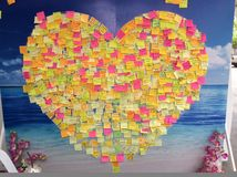 Sticky notes of heart. Send concern, nostalgia, understanding, unity to your love Royalty Free Stock Photography