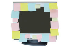 Sticky notes on the monito Royalty Free Stock Images