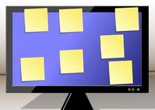 Sticky notes on a monitor Stock Photo