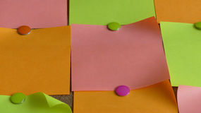 Sticky notes multi coloured background stock photos