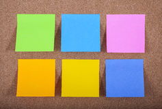 Sticky Notes on a Noticeboard Stock Photos
