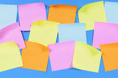 Collection of several post-it style office sticky notes, copy space Stock Photography