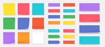 Free Sticky Notes. Paper Colored Square Reminders Isolated On Transparent Background, Empty Notebook Page. Vector Paper Sheet Royalty Free Stock Photos - 156258988