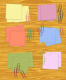 Sticky notes and paperclips. Collection of sticky notes and paperclips in different colors Royalty Free Stock Images