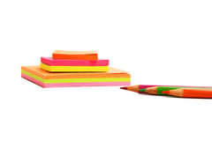 Sticky notes and pencils isolated Royalty Free Stock Photography