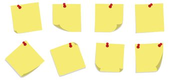 Sticky Notes with PIns Stock Photo
