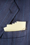Sticky notes in a pocket Stock Photo
