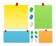 Sticky notes with pushpins Stock Photography