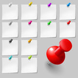 Sticky Notes With Pushpins Royalty Free Stock Photography