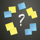 Sticky notes and Question mark Stock Photos