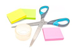 Sticky notes, scotch tape and scissors Stock Photo